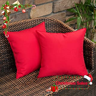 MIULEE Pack of 2 Decorative Outdoor Waterproof Pillow Cover Square Garden Cushion Case PU Coating Throw Pillow Cover Shell for Christmas Tent Park Couch 18x18 Inch Red