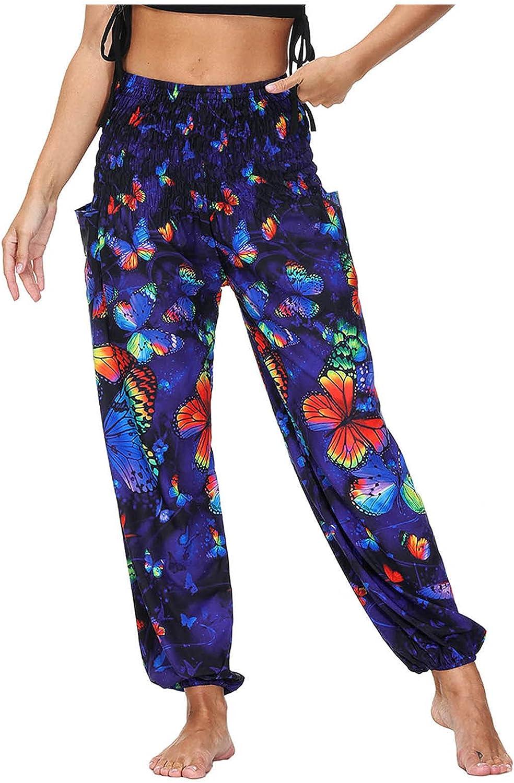 miqiqism Women Loose Pocket Trouser Wide Leggings Pants Plus Size Harem Pants Summer Casual Palazzo Printed Pants