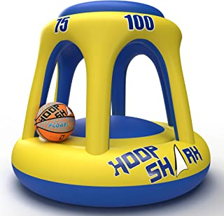 Swimming Pool Basketball Hoop Set by Hoop Shark - Yellow/Blue 2020 Edition - Inflatable Hoop with Ball Included - Perfect ...
