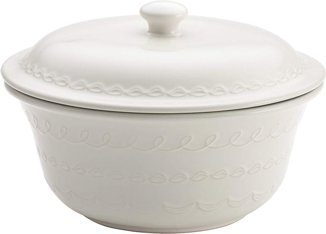 Cake Boss Icing Serveware 2 5 Quart Stoneware Covered Round Casserole White