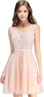 Babyonline Lace Tulle Prom Dresses Short V Neck Bridesmaid Homecoming Gown
