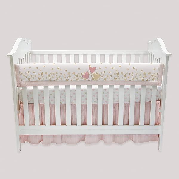 Lambs Ivy Confetti Heart Crib Rail Cover Pink Gold