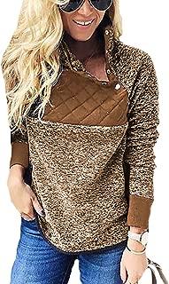 Women's Warm Long Sleeves Oblique Button Neck Splice Geometric Pattern Fleece Pullover Coat Sweatshirts Outwear