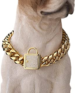 Granny Chic Top Cubic Zirconia Lock Stainless Steel 18K Gold Plated Curb Cuban Chain Dog Training Walking Choke Collar