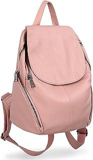UTO Women Backpack Purse PU Washed Leather Large Capacity Ladies Rucksack Shoulder Bag Pink