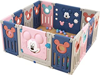 SINCHER Foldable Baby Playpen Activity Area Play Yard with Multicolor Indoor Safety Gates, 14-Panel Portable Play Pens.Doo...