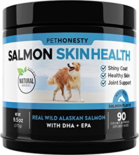 Salmon Oil for Dogs - Omega 3 Fish Oil For Dogs All-Natural Wild Alaskan Salmon Chews Omega 3 for Dogs for Healthy Skin & ...