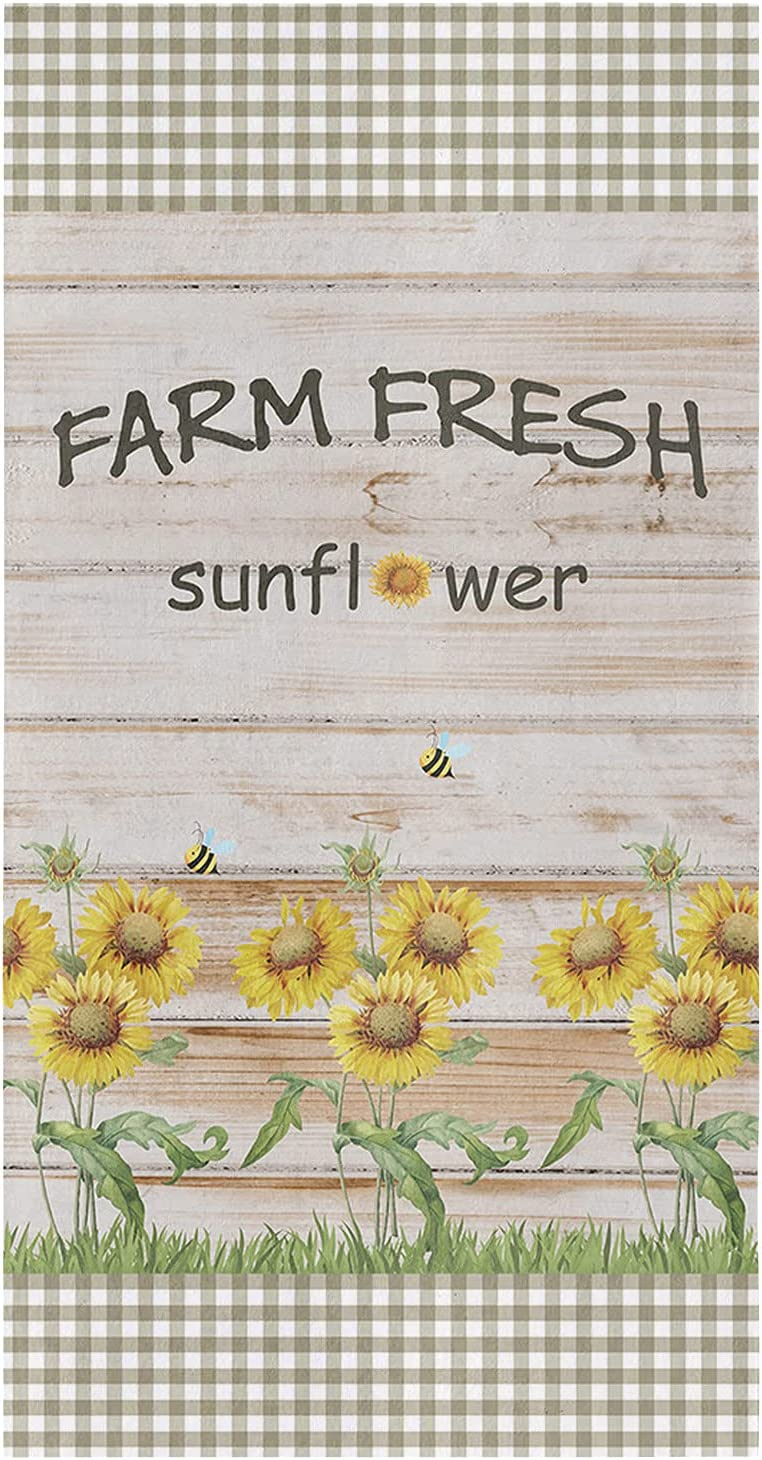 Under blast sales We OFFer at cheap prices 4Pack Microfiber Kitchen Towels Farm P Sunflower Brown Fresh on