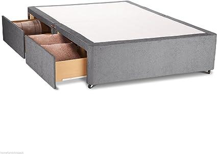 Hf4You Chenille cama con canapé base – sin cabecero de cama – 2 cajones, beige, 121 cm