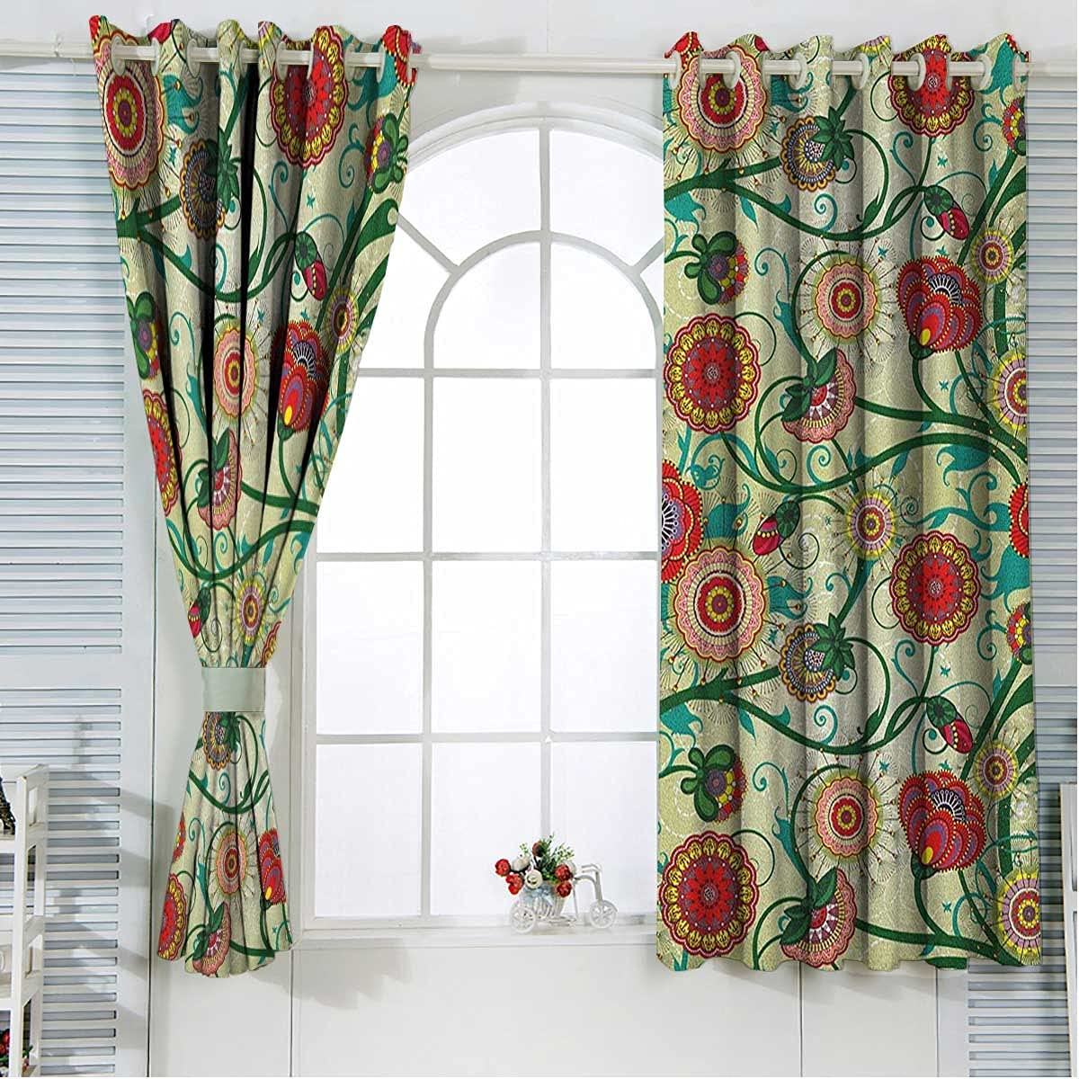 Floral Noise Cancelling Curtains 84 Ki Max 46% Ranking TOP15 OFF Inches Multicolor Length