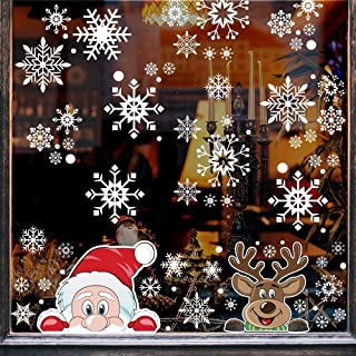 DIYASY 275 pcs Christmas Snowflake Window Clings, Decals Santa Claus and Elk Stickers for New Year Window Decoration.