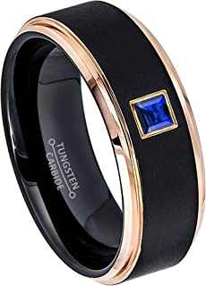 0.10ctw Solitaire Princess Cut Blue Sapphire Tungsten Ring - 8MM Brushed 2-Tone Rose Gold Tungsten Carbide Wedding Band - September Birthstone Ring