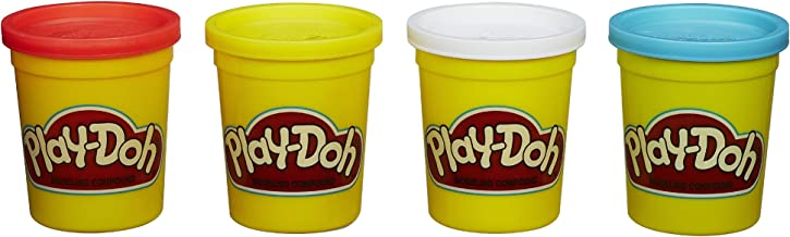Hasbro Play-Doh 4-Pack of Colors 16 Ounce Total - Red, Yellow, White and Blue