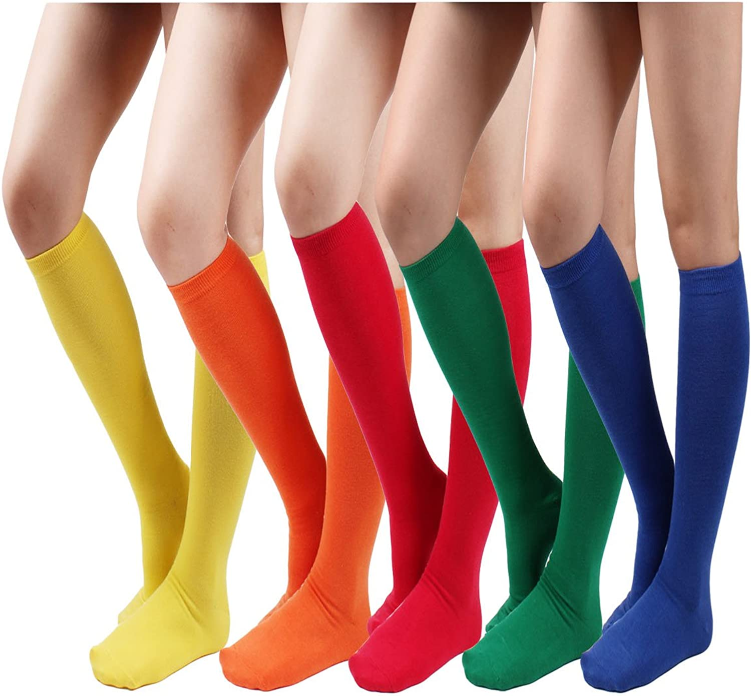 10STAR11 Women's 3,5 Pair Cotton colorful Everyday Solid Knee High Socks