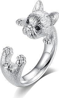 Gemshadow donne 925sterling Silver Dog anello regolabile