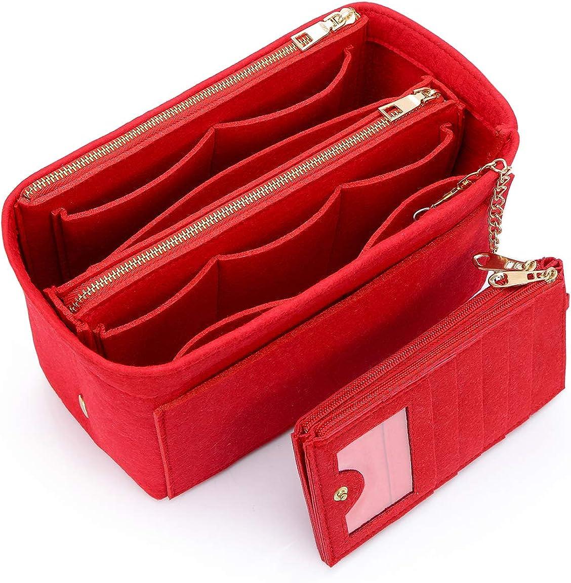 VANCORE バッグインバッグ 軽量 自立 Bag in Bag フェルト チャック付き 小さめ 大きめ バッグの中 整理 整頓 通勤 旅行 レッド