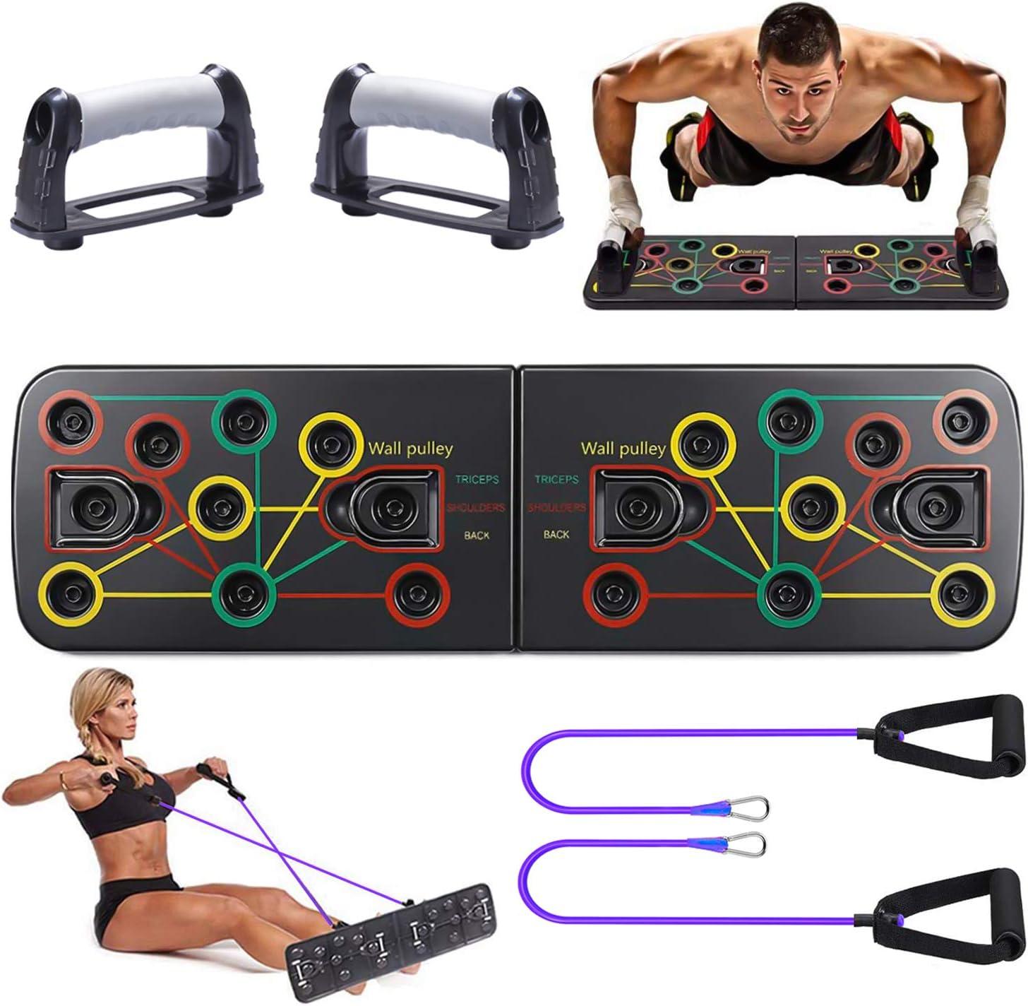 Tendak Tabla de Flexiones 9 en 1 Gym Fitness System para Entrenamiento Corporal Push-up Board para Entrenamientos Multifunción, Push Up Tabla Board para Hombres, Mujeres, Entrenamiento en el hogar