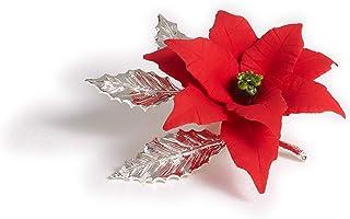 Stella Di Natale Piccola Fatta A Mano In Porcellana Stile Capodimonte Su Foglie In Peltro Argentato Con Marchio Napoleon