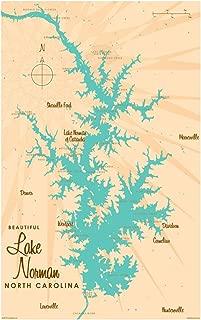 Lake Norman North Carolina Vintage-Style Map Art Print Poster by Lakebound (12