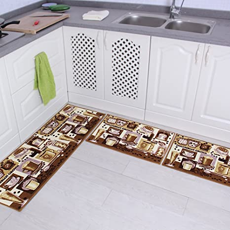 Amazon Com Carvapet 3 Pieces Non Slip Kitchen Mat Set Rubber Backing Doormat Runner Rug Set Coffee Design Brown 15 X47 15 X23 15 X23 Home Kitchen
