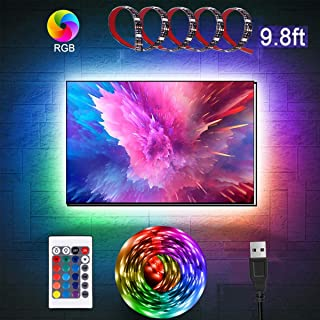 aijiaer TV LED Backlights, 9.8ft LED Strip Lights with Remote for 46-60 inch TV, TV Backlights with 3M Tape, USB Powered