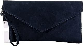 Italian Suede Leather Envelope Clutch Wrist Shoulder Crossbody Bag