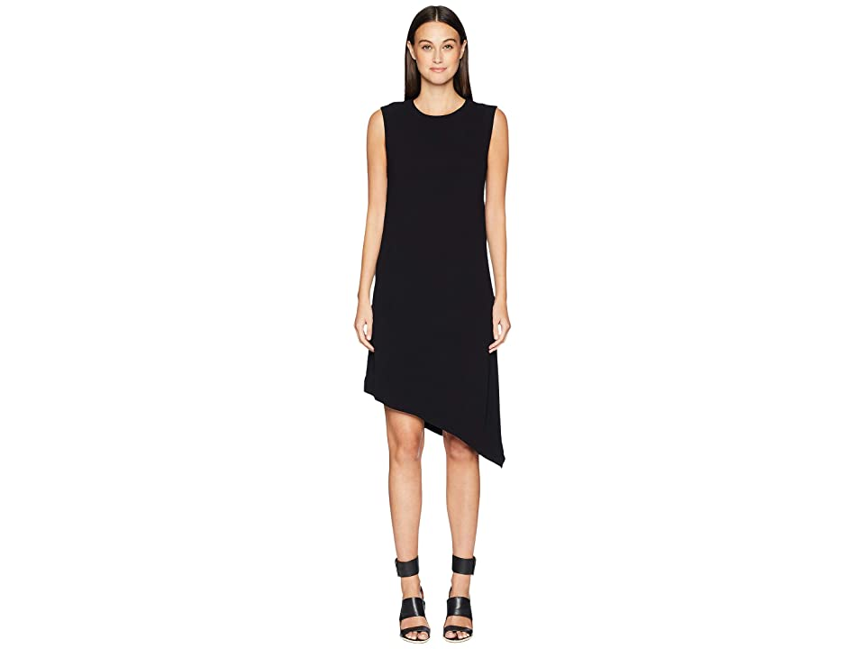 Nicole Miller Crinkle Satin Back Crepe Asymmetrical Sheath Dress (Black) Women