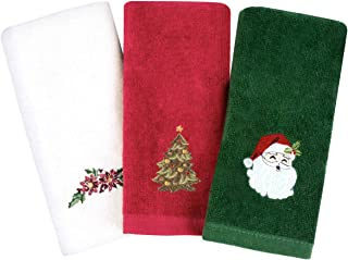 Armyte Christmas Hand Towels Washcloths, 12 x 18 inch 100% Pure Cotton Towels Bathroom Kitchen Wash Basin, Drying, Cleaning, for Home and Kitchen (Set of 3: Red, White, Green)