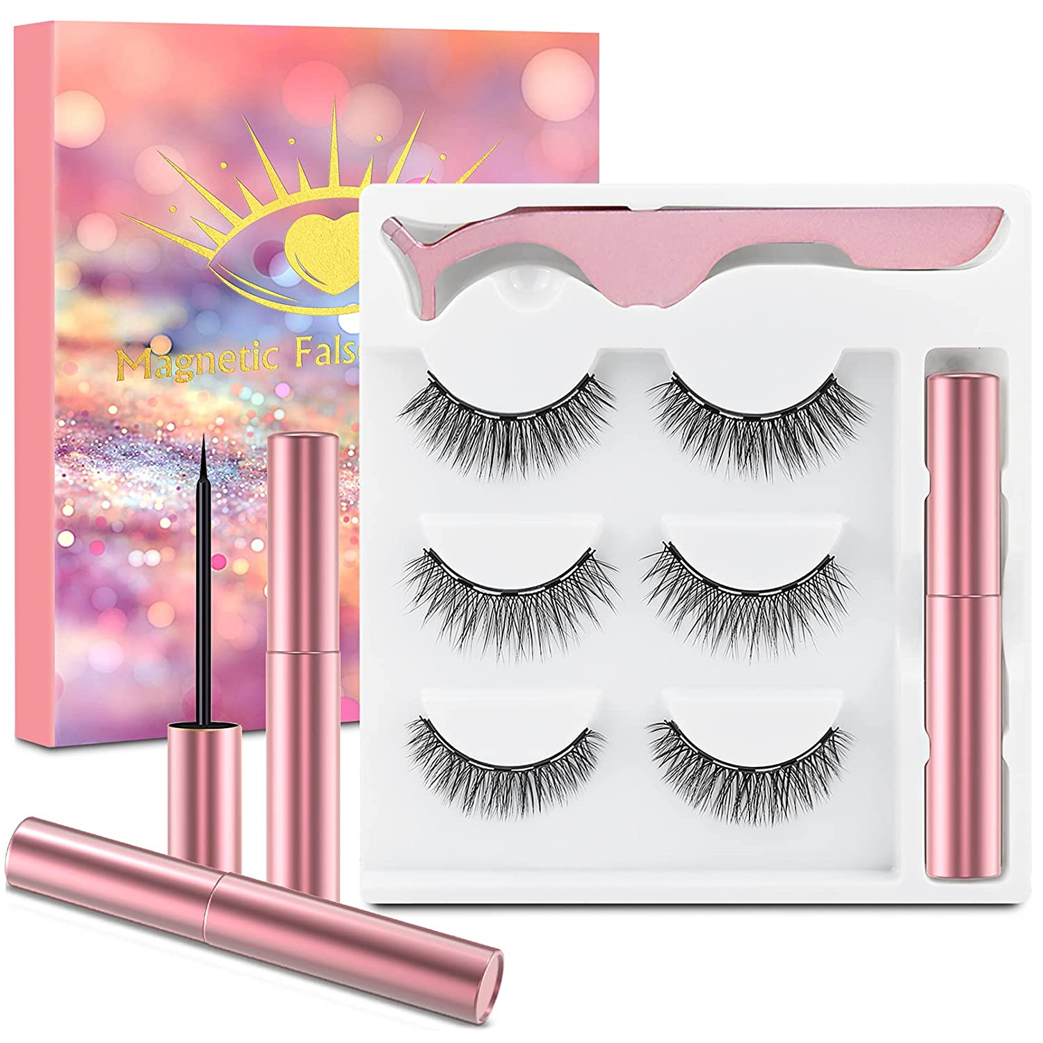 Magnetic Eyelashes Kit Eyeliner 3D 3 False Animer and price revision Pairs Fa Special Campaign