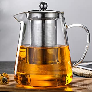 NUTMEG Glass Teapot Stovetop Save - Tea Kettle with Removable Food Grade Stainless Steel Infuser & Lid for Blooming and Lo...