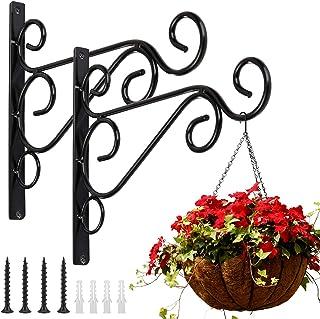 10x Garden Hanging Wall Brackets Outdoor Basket Plant Pot Hanger Hook Decor UK