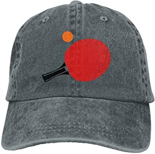 Table Tennis Racket Ball Denim Hat Adjustable Unisex Stretch Baseball Cap