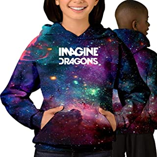 Youth 3D Printed Imagine Dragons Evolve 3D Printing Galaxy Pullover Long Sleeve Hooded Sweatshirts with Pockets