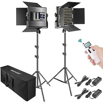 Neewer 2er Pack Fortgeschrittene 660 LED Videolicht Fotografie Beleuchtungsset mit Tasche dimmbar zweifarbig LED Bedienfeld mit 2.4G Fernbedienung LCD-Bildschirm und Lichtstativ