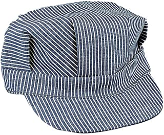 Medium Hickory Striped Blue and White Train Engineer Hat