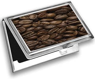 Ambesonne Coffee Card Holder, Fresh Decaf Flavored Joe, Metal Card Wallet