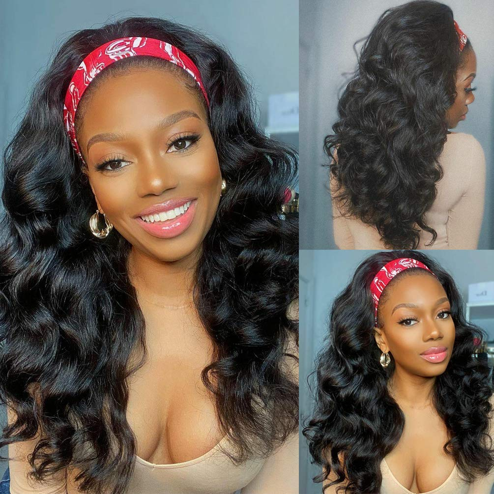Body Wave Headband Brand new Wig Human Hair Wigs OFFer for Women Black 10A