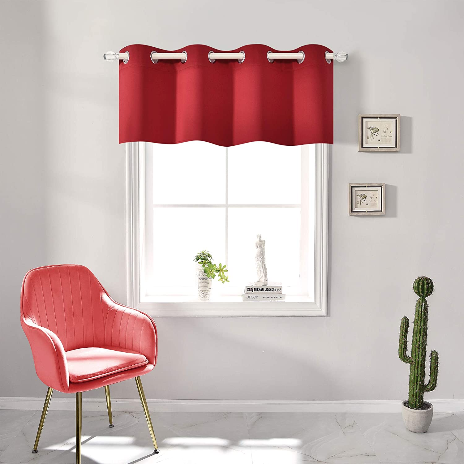 Red Blackout Valances for Windows Treatment 18 Inch Length Solid