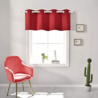 Xmas Red Blackout Valances for Windows Treatment 18 Inch Length Solid Thermal Insulated Grommet Top for Bedroom and Bathro...