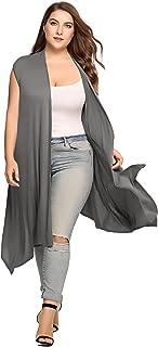 Womens Plus Size Sleeveless Cardigan Sweater Vest Solid Asymetric Hem Open Front Soft Long Maxi Cardigan