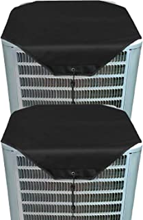 RZMAYIS Ac Unit Cover - Winter Conditioner Top Air Conditioner Leaf Guard Air Conditioner Cover for Outside Units (2 pcs Black Oxford, 28