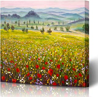 Ahawoso Canvas Prints Wall Art Printing 12x8 Green Painting Italian Tuscany Cypresses Landscape Mountains Oil Red Artistic Bloom Blossom Canvas Painting Artwork Home Living Room Office Bedroom Dorm