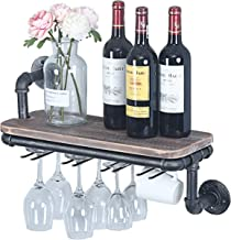 MBQQ 19.7in Industrial Rustic Wall Mounted Wine Racks for New Home,Liquor Bottle Storage Holders for Housewarming Gift Ideas,Floating Shelves with 5 Long Stem Glass Holder,Home Decor Display Rack