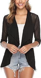 Women 3/4 Sleeve Open Front Lightweight Sheer Cardigan Sweater