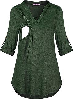 JOYMOM Maternity Fall Notch Neck 3/4 Cuffed Sleeve Nursing Blouses for Women