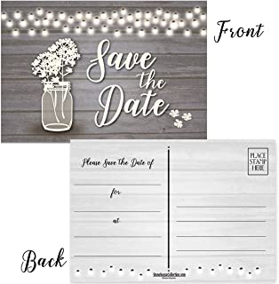 50 Rustic Theme Save The Date Postcards - 4