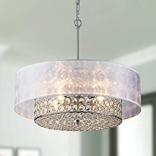 Saint Mossi Chrome K9 Crystal Raindrop Chandelier Lighting Flush Mount LED Ceiling Light Fixture Pendant Lamp for Dining Room Bathroom Bedroom Livingroom 4 G9 Bulbs Required H6