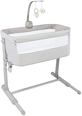 Lil' Jumbl Safe Baby Bassinet Bedside Sleeper, Easy Folding Portable Infant Standalone Crib, Adjustable Height, Mattress, 2 Sheets, Detachable Side Panel & Music Box with Toys, Attaches to Bed or Sofa