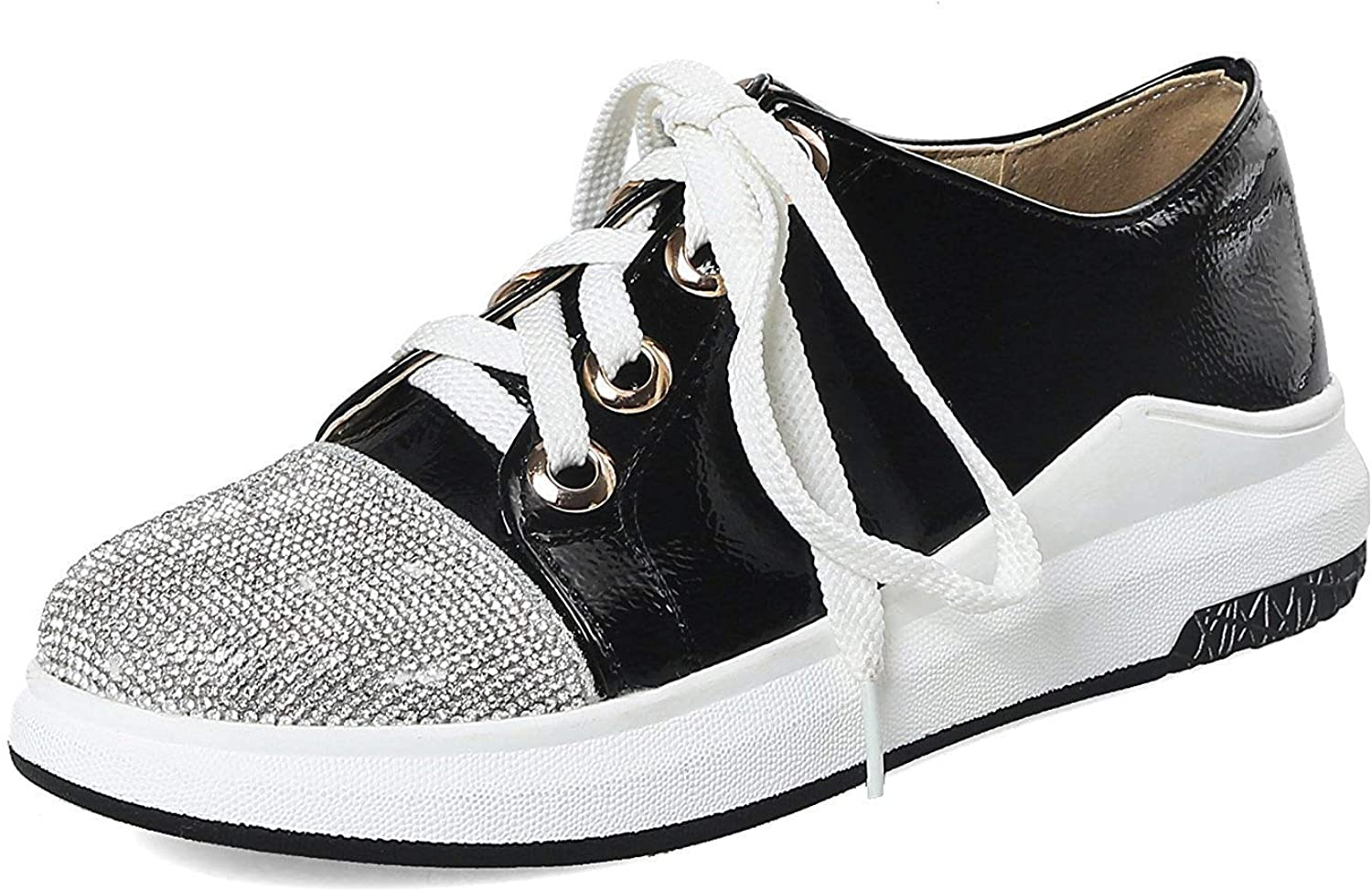 Unm Women's Platform Sneakers with Rhinestone - Lace up Round Toe Mid Top - Flats Casual Outdoor
