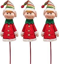 ALLYORS 3 Pack Plush Elf Christmas Picks and Spray, Elves Christmas Tree Ornament Stick Stem with Delightful Smile, Santa ...